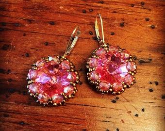 Elegant light rose crystal earrings, light rose earrings, pink earrings, swarovski earrings, sparkly earrings, pink vintage look jewelry