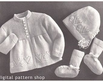 Baby Knitting Pattern Girls Sweater Bonnet Booties, Dainty Heart Sweater Set PDF Instant Download 6 Months K24