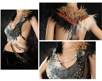 Apocalyptic Warrior Halter Top, Studded Leather Shrug, Wasteland Festival, Tribal Belly Dance Warrior Top, black white fur top, heavy metal
