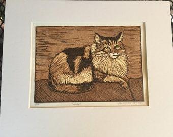 Maine Coon Cat Block Print
