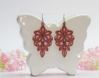 Chandelier earrings, Salamon earrings, Embroidery lace, Wedding jewelry, Salamon lace, Vintage earrings, Floral earings, Lace gift for her