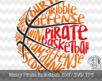 Messy Pirate Basketball design INSTANT DOWNLOAD in dxf/svg/eps for use with programs such as Silhouette Studio and Cricut Design Space