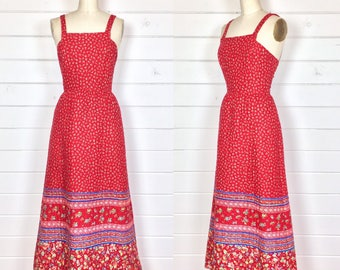 Vintage 1970s Red Floral Quilted Maxi Dress / Made by Lanz Originals / Pinafore Dress / Bohemian