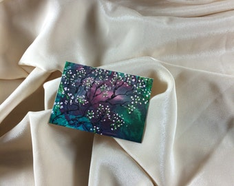 Print of Original Encaustic Painting Cherry Blossom  ACEO