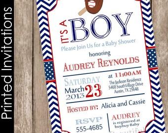 Baseball baby shower invitation, boy baby shower invitation, printed baby shower invitation, chevron baby shower invitation,(FREE ENVELOPES)