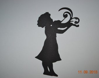 Girl Playing Violin Silhouette Scrapbooking Card Making Die Cut Embellishment