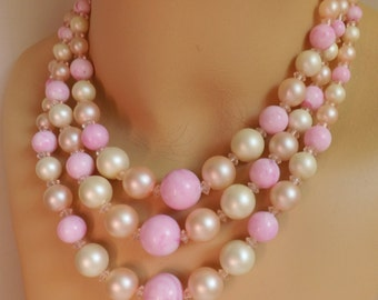 Vintage 1960s 3 strand beaded lucite and pearl necklace orchids, pink blush, and champagne with crystal accents Hong Kong