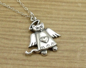 Cat Angel Necklace, Sterling Silver Angel Cat Charm on a Silver Cable Chain