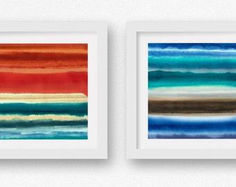 Ocean Teal, SET of TWO Color + Rain art prints, limited edtion giclees, abstract wall art, modern art print, coastal art
