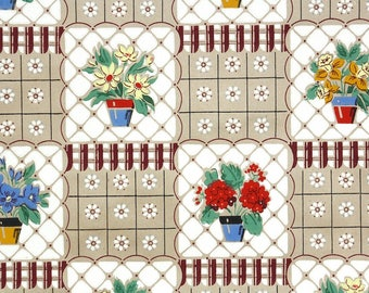 1940s Vintage Wallpaper by the Yard - Vintage Kraft Paper with Potted Geraniums and Daisies