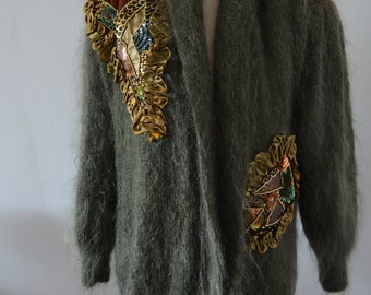 Slouchy MOHAIR Long Sequins Beaded ARMY Green Cardigan Outwear Coat Sweater 80s fall Runway