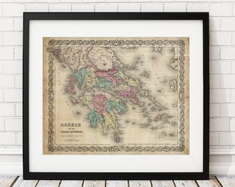 Greece Map Print, Vintage Map Art, Antique Map, Office Wall Art, Map of Greece, Old Maps, Map Poster, Greece Print, Greek Art, Gifts for Him