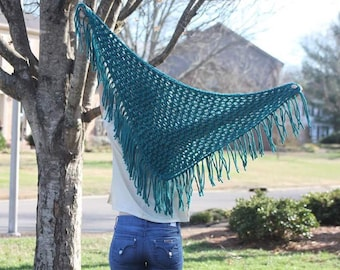 Knit Triangle Scarf- Fringe Scarf- Knit Scarf- Chunky Knit Shawl- Blanket Scarf- Boho Knit Scarf- Turquoise-Lace Triangle Shawl-Gift for Her