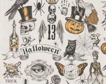 Trickery In Tea & Orange Haunted House, Alexander Henry Halloween Print Skulls, Ravens, Witches, Jack O'Lantern 100% Cotton Fabric Half Yard
