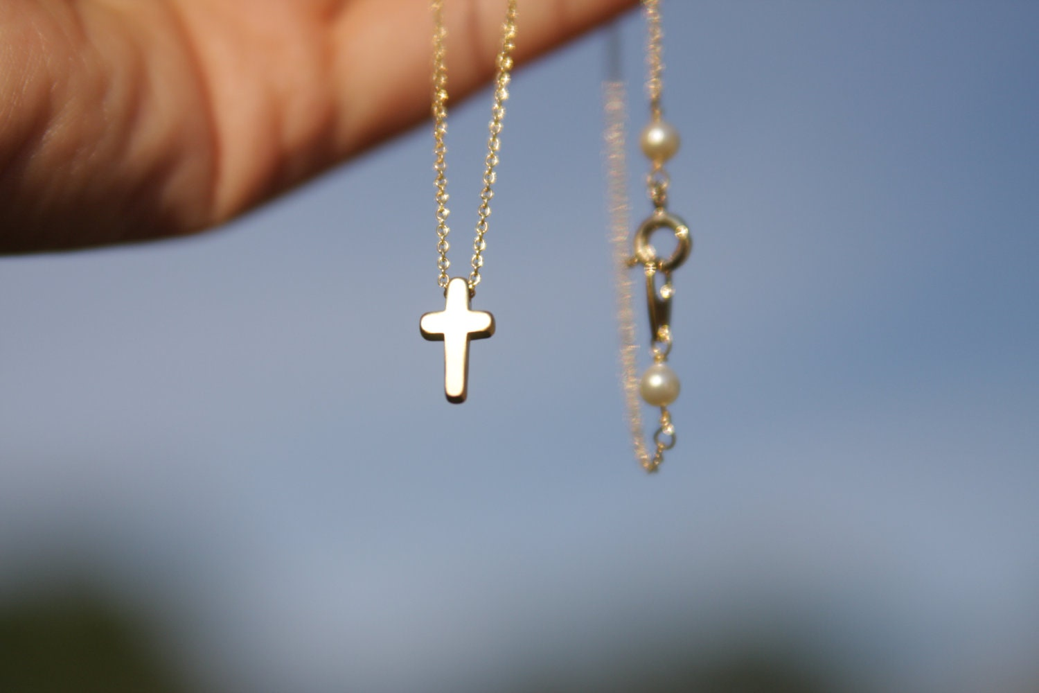 Tiny cross necklace mini cross necklace gold cross necklace zoom mozeypictures Images