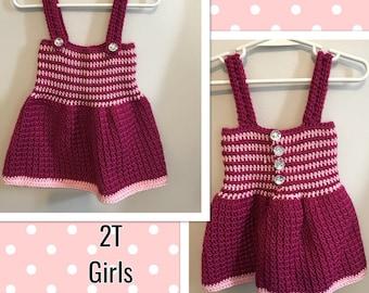 2T Girls Summer Dress with Diamond Buttons