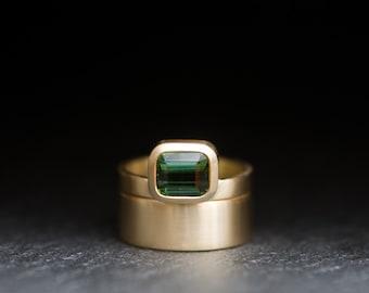 Wedding Set - Tourmaline Wedding Set - Emerald cut Green Tourmaline set in Satin Finished 18k Gold - Made to Order
