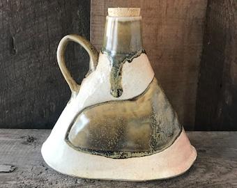 Salt-fired Whiskey Bottle: Handmade bottle, unique ceramics, handmade pottery, porcelain pottery, ceramic flask, wine caraffe, bourbon, sake