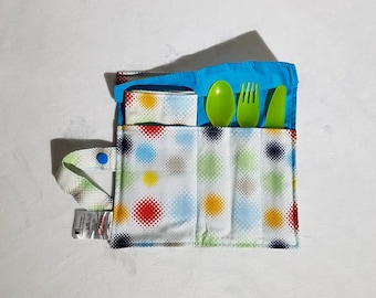 Zero Waste Cutlery and Napkin Roll, ready to ship, Bright Dots, Rainbow, Blue, Reusable Cutlery Roll, Picnic Cutlery.