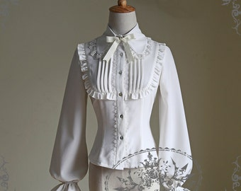 Classic Lolita Lacing Up Back Long Sleeves Thick Blouse grey ivory black