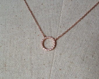 Pavé Circle Necklace in Rose Gold, Dainty Necklace, Tiny Round Necklace