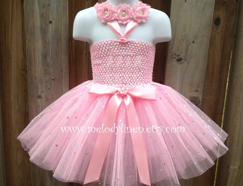 Pink tutu dress3pcs Flower girl dress headband birthday dress