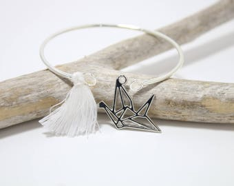 "Kit ""ORIGAMI bird"" white tassel Bangle Bracelet"
