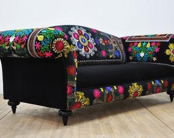 Suzani Couch - black passion