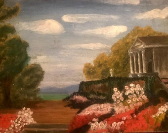 Roman temple in a garden (antique oil painting)