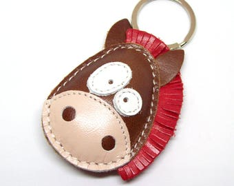 Leather Horse Keychain - Ronnie The Cute Little Horse Handmade Leather Keychain - FREE Shipping Worldwide - Handmade Leather Horse Bag Charm