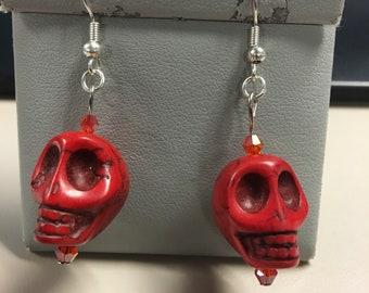 Red howlite skull earrings