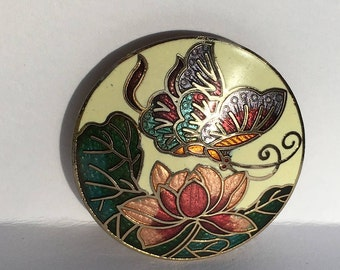 Vintage Cloisonne Butterfly and Flower Brooch