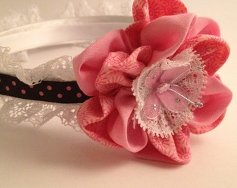Brown and Pink with butterfly embellishment Hairband