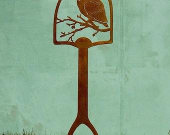 Screech Owl Shovel Handle | Metal Bird Shovel Art | Metal Yard Art | Metal Yard Decor | Metal Garden Stakes | Owl Garden Stake | SH507
