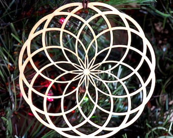 Tube Torus Holiday Ornament - Laser Cut Wood Wooden Sacred Geometry Xmas Christmas Decoration