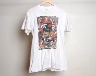 Vintage des années 90 vintage FRINGE festival d'Édimbourg blanc au milieu des années 90 haut de t-shirt film musique alternative