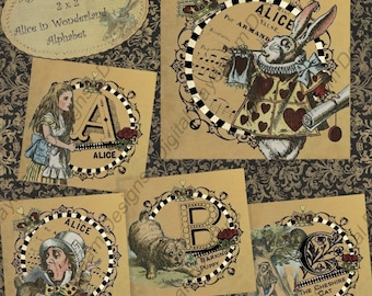 Instant Download Digital Printable Collage Sheet - Alice Alphabet in Tan -2 x 2 size in jpg, png or pdf