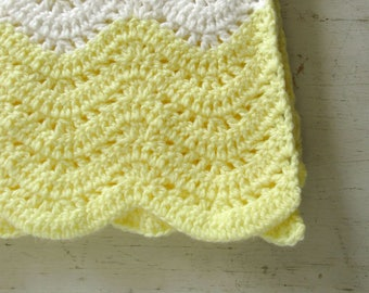 Crochet Baby Blanket Handmade Girls or Boys Bright Yellow White Chevron Striped Blanket Knit Stroller Blanket 35 x 30 Inches