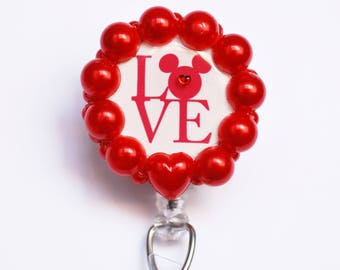 Valentine's Day Mickey Mouse ID Badge Reel - Retractable ID Badge Holder - Ziperedheart