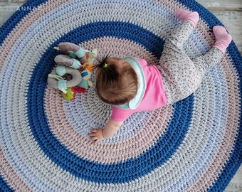 Blue stripped circular area rug / Round rug / Crochet carpet with stripes / Babyrug / Nursery rug