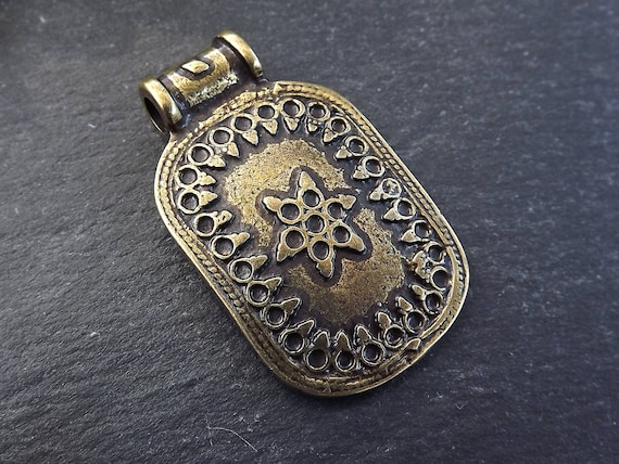 Nepalese Style Rectangle Medallion Artisan Pendant Ethnic Tribal Pattern Rajasthan Boho Bohemian Jewelry Making   Antique Bronze Plated 1pc by Etsy