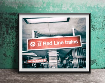 Red Line Trains - CTA El Sign - Lakeview, Chicago - Art Photography Print - sign photo