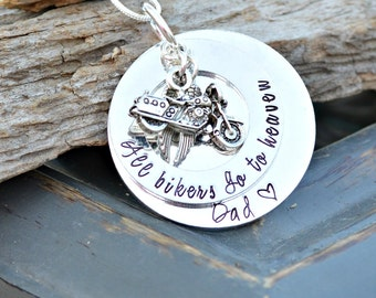 Dad Memorial Jewelry - Dad Memorial - memorial necklace motorcycle - Loss of a loved one - In memory of sympathy gift - In remembrance