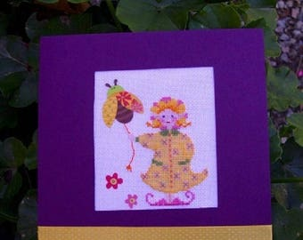 """Hand embroidered card: little """"Pixie flower"""" and her Ladybug - birthday"""