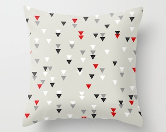 Decorative throw pillows grey black and white red pillow cover home decor  housewares triangle geometric quote hipster typography