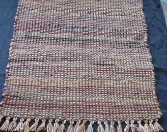 Handwoven Rug, rag rug, maroon mix and neutrals