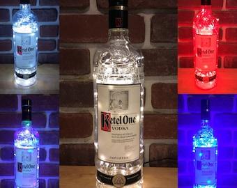 Ketel One Upcycled Handmade LED Light Strand Bottle, Liquor Vodka Bottle, Accent Table Lamp, gift for him or her