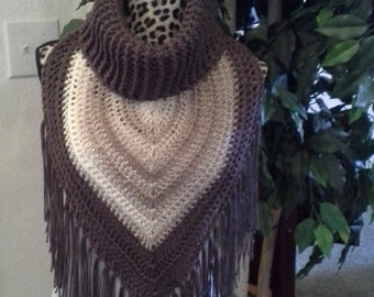 Women's Taupe Turtleneck Triangle Scarf With Fringe
