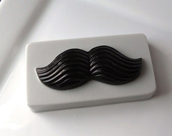 Mustache Bar Soap for Men - Polo Type Scented - Goat Milk and Glycerin soap - For Him - Teen - Grey and Black - Fathers Day - Novelty