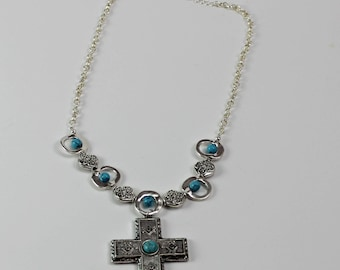 Western Cross Turquoise Statement Necklace